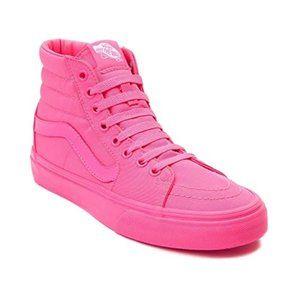 COMING SOON: Vans Sk8 Hi Skate Shoe-Neon Pink Mono